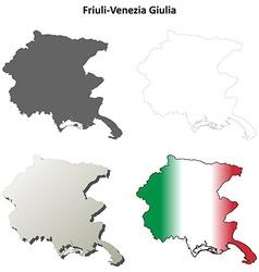 Friuli-Venezia Giulia blank outline map set vector