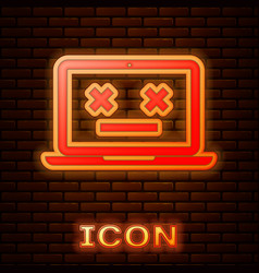 Glowing neon dead laptop icon isolated on brick vector