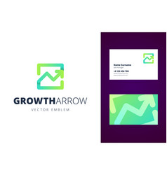 Growing chart logo and business card template vector