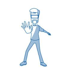 Guy character wearing vr helmet standing vector