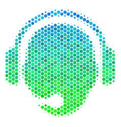 Halftone blue-green operator head icon vector
