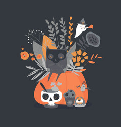 halloween with pumpkin and cat on vector image
