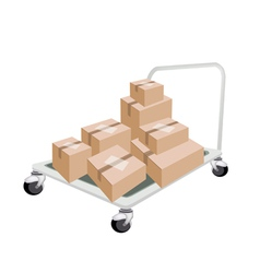 Hand Truck Loading Stack of Shipping Boxes vector