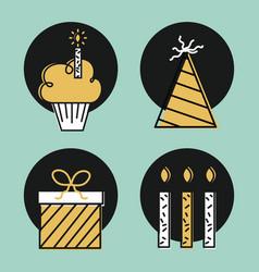 Happy birthday wish celebration time day icons vector