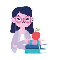 happy teachers day cute teacher apple on books vector image