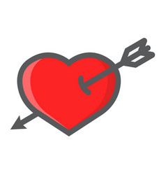 heart pierced with arrow filled outline icon vector image