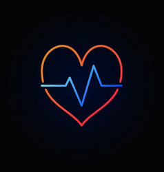 heartbeat colored icon in minimal outline vector image