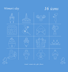 I love you womens doodle 16 icon in set of womens vector