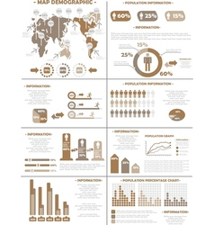 INFOGRAPHIC DEMOGRAPHICS POPULATION 3 BROWN vector image