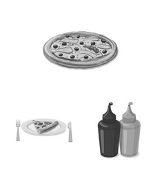 Isolated object of pizza and food logo collection vector