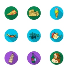 Italy country set icons in flat style Big vector