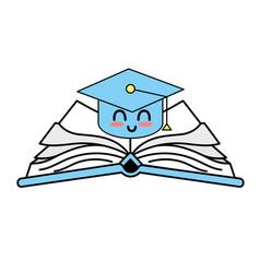 Kawaii cute happy cap graduation over open book vector
