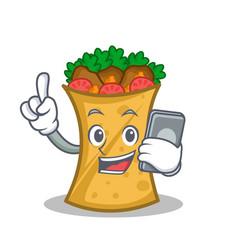 Kebab wrap character cartoon with phone vector