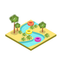 Kids water park attraction isometric 3d element vector