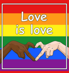 Lgbt gay pride banner with love is love text and vector