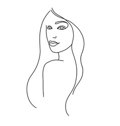 Line drawing a beautiful woman 10 vector