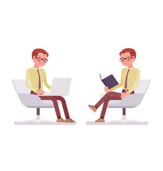 male clerk sitting and working vector image