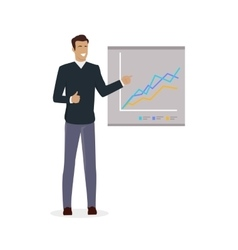 Man near Board with Carts and Graphs vector