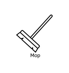mop simple line icon floor cleaning thin linear vector image