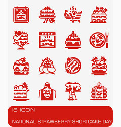 National strawberry shortcake day icon set vector