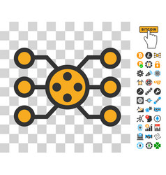 Network nodes icon with bonus vector