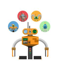Orange mechanic robot with indicators and antennae vector