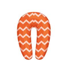 Orange neck pillow on a white vector