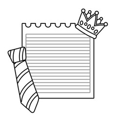 Paper sheet with crown and tie black and white vector