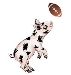 Piglet plays rugby vector