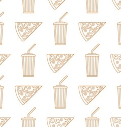 Pizza slice soda cold drink paper cup outline vector