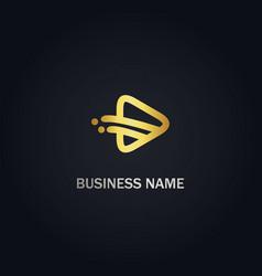 play media gold logo vector image