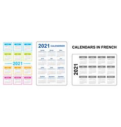 Pocket calendar on 2021 year french set vertical vector