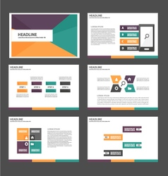 Purple orange green presentation templates set vector