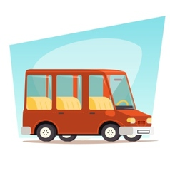 Retro Cartoon Car Family Travel Van Icon Modern vector