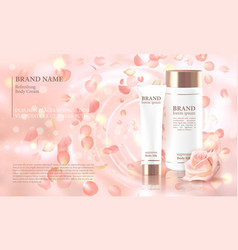 Rose flower extract cosmetic ads template vector