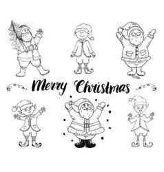 santa claus and elfs gnomes hand drawn set merry vector image