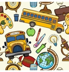 School seamless pattern with education elements vector