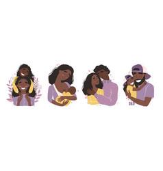 set clip art a happy smiling black african vector image