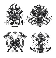 set firefighter elements emblems labels vector image