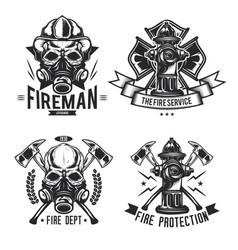 set firefighter elements emblems labels vector image