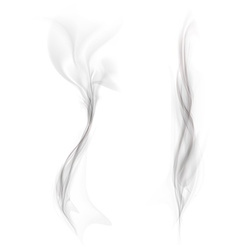 set of black smoke isolated on a white background vector image