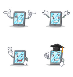 set of tablet character with wink grinning two vector image