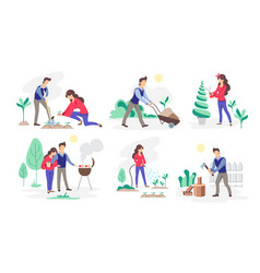 set people working in garden mental health vector image
