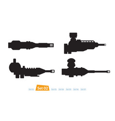 set spaceship weapons silhouette two vector image