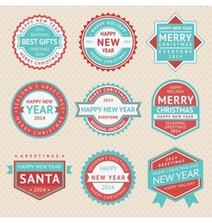 Set stickers and badges for christmas cards vector
