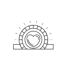Silhouette closeup flat coin with heart symbol vector