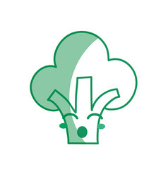 silhouette kawaii cute funny broccoli vegetable vector image