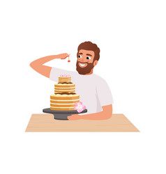 smiling bearded man making a cake young man vector image