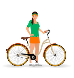 Sportswoman standing with a bicycle on a white vector