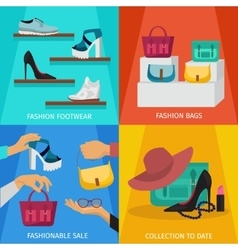 Square Fashion Accessories Icon Set vector